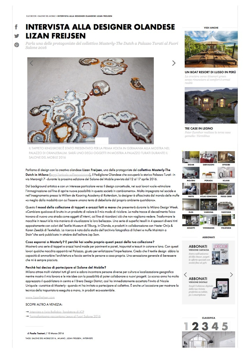 Intervista alla designer olandese Lizan Freijsen - Elle Decor Italia